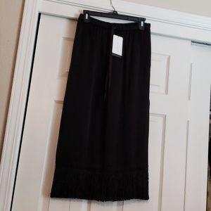 NWT Zara Satin Fringe Midi Skirt